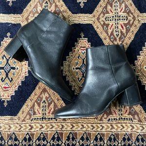 Calvin Klein Black Leather block heel Booties 7.5